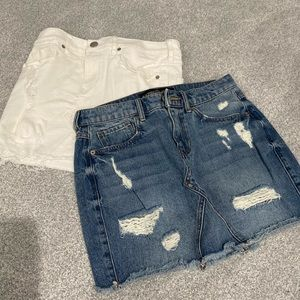 (2) express jean skirts